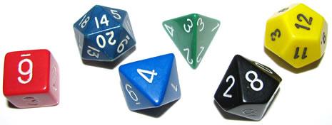 Estos dados son el núcleo numérico/aleatorio de los juegos de rol. Se componen de los cinco sólidos platónicos y un sexto sólido. De izquierda a derecha: seis caras (hexaedro), veinte caras (icosaedro), ocho caras (octaedro), cuatro caras (tetraedro), diez caras, doce caras (dodecaedro).